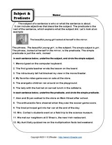 Worksheets Predicate Adjective Worksheet grammar third grade and articles on pinterest subject predicate worksheets