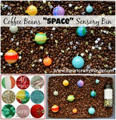 Coffee Beans Space-Themed Sensory Bin from I Heart Crafty Things.
