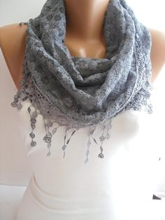 Gray Lace Shawl / Scarf - Headband - Cowl with Lace Edge  $16,90