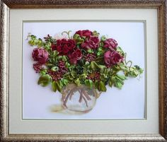 Roses In A Glass Vasesilk ribbon embroideryMaterials:100% silk ribbons.Dimensions 46 x 48 cm / 18.1 x 18.9 inches.The item is made to order ...