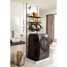 防水パンに収まる。洗濯機ラック標準ランドリーラックタイプ幅59〜90cm棚2段バスケット2個