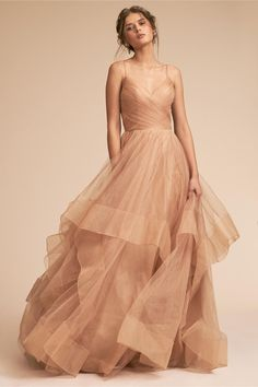 Chantelle Dress - Gold: A ruched spaghetti-strap bodice tops a breathtaking layered skirt for an unmistakably whimsical look Straps Prom Dresses, Bridesmaid Dresses, Dress Prom, Dance Dresses, Dress Long, Dress Skirt, Bridesmaids, Pretty Dresses, Beautiful Dresses