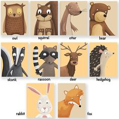 Hey, I found this really awesome Etsy listing at https://www.etsy.com/listing/182151551/nursery-art-woodland-animals-printable Painting For Kids, Art For Kids, School Murals, Woodland Animals, Forest Animals, Animal Habitats, Kids Prints, Otters, Whimsical Art