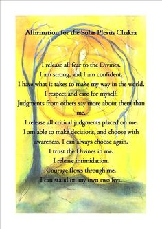 The Solar Plexus Chakra Affirmation: Pics and words were found online, only then did I put them together.