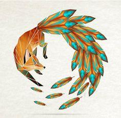fox, feather, circle, native, illustration