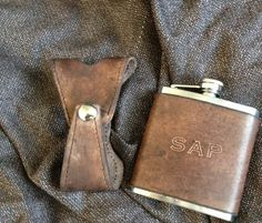 Custom Leather Covered Flask. WITH Holster by jrleathercraft, $32.00  Bone's gift to the guys?