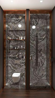 Minimalist chick bathroom #granitewallart #granitedesign