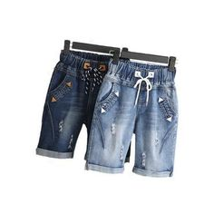 46f458cd033ad Get Discount Large size women fat mm summer students denim shorts female  200 pounds plus size five points wide leg harem trousers
