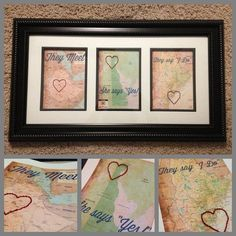 Love Story Maps - Framed - They Meet, She Says Yes, They Say I Do.  A handmade and thoughtful engagement or wedding gift. on Etsy, $64.00 #weddinggifts Wedding Gifts Wedding Gift Ideas #wedding
