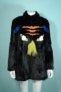 Roschterra Black Rabbit Coat With Tiger Face, Mongolian Lamb Accents Novelty Coat, M