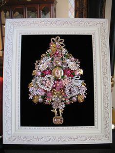 GLENDA'S CUSTOM ORDER~ Framed Vintage Jewelry Christmas Tree Valentines Hearts Cupid Swans Locket Pink Red Rhinestones Repurposed Framed Art