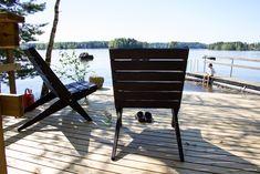 Tuolit rannassa Outdoor Chairs, Outdoor Furniture, Outdoor Decor, Bench, Cottage, Park, Summer, Home Decor, Summer Time
