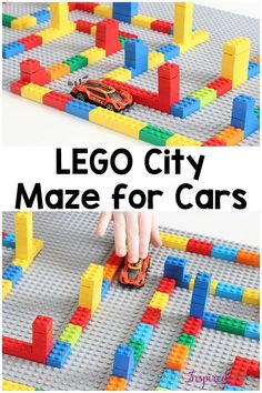This LEGO city maze was so much fun for my son! It's an excellent way to develop critical thinking skill and fine motor skills. It's also a neat car activity or pretend play small world.