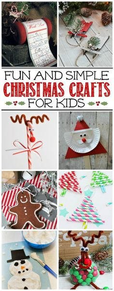 Fun collection of cute and simple Christmas crafts for kids.  Must try some of these!
