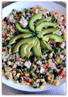 Dishing With Leslie: Southwest Quinoa Salad - absolutely delicious!  I add more avocados and serve with salt.  This makes a LOT.