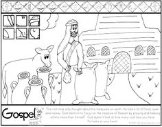 ***FREE*** Luke 12.13-21 Treasure in Heaven Coloring Page Catholic Kids