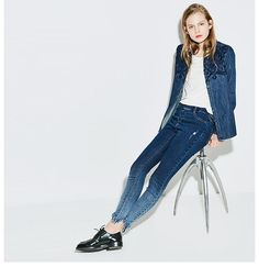 Ripped style jeans from VING. Harem Pants, Trousers, Jean Skirt, Jeans Style, Duster Coat, Clothes For Women, Trending Outfits, Fall, Skirts