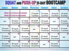 Squat and Push-Up 31-Day Bootcamp {a monthly workout calendar} #bodybootcamp @shrinkingjeans #fitness #bootcamp