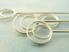 4 Sterling Silver 8.5mm Double Ring Head Pins - Modern Style - 20 gauge 2 1/4 inches