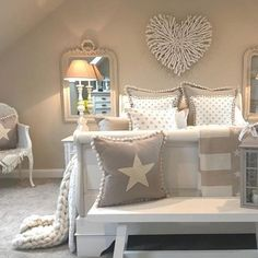 Our pretty Star Patch Cushions feature a raw edged star patch, a hidden zipper fastening, and plain back. These cushions come in a choice of styles, fillers and colours. Made in Britain. Star Cushion, Pretty Star, Front Rooms, Coordinating Fabrics, Toddler Bed, Patches, Cushions, Colours, Stars