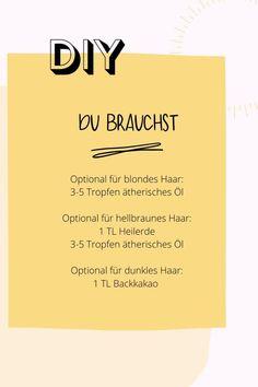 Keine Zeit die Haare zu waschen? Kein Problem mit deinem neuen, eigenhändig hergestellten Trockenshampoo. Für die Grundmischung benötigst Du 3 EL Maisstärke, 1 TL Natron und ein Gefäß. Bei blondem Haar fügst Du 3-5 Tropfen ätherischen Öls hinzu, bei hellbraunem 1 TL Heilerde und 3-5 Tropfen Öl und bei dunklem Haar 1 TL Backkakao. Zutaten gut vermischen und mit einem Pinsel auf das Haar auftragen und einmassieren, überschüssige Menge einfach ausbürsten - fertig! #edel-naturwaren.de Stress, Tricks, Wellness, Dark Hair, Hair Care, Psychological Stress