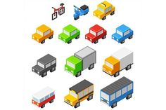 Isometric vector vehicles #isometric