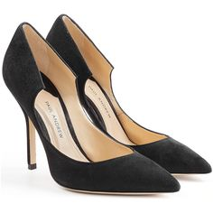 Paul Andrew Suede Pumps ($435) ❤ liked on Polyvore featuring shoes, pumps, heels, black, black stilettos, suede pointy toe pumps, heels stilettos, black suede pumps and high heels stilettos