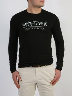 PONTE di ROMA - Μπλούζα με τύπωμα εμπρός. Long Sleeve, Sleeves, Mens Tops, T Shirt, Style, Fashion, Supreme T Shirt, Swag, Moda