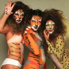 Hear these ladies roar! #tiger #BodyArt #bodypaint #models #Cheetah #paint #makeupaddict #MUA #specialeffectsmakeup #makeupart #lovemyjob