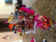 Man Bouquet-this time I added his favorite bottles of liquor! He LOVED it! Kettle one, - Liquor Gift Baskets, Gift Baskets For Men, Valentine Gift Baskets, Valentine Day Gifts, Valentines, Man Bouquet, Gift Bouquet, Liquor Bouquet, Chocolate Bouquet