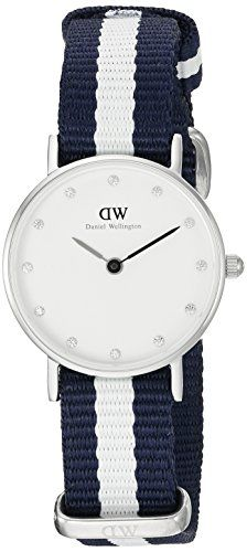 Daniel Wellington Women's Quartz Watch with White Dial Analogue Display and Multicolour Nylon Strap 0928DW