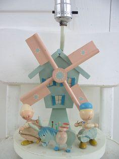Vintage Nursery Baby Lamp Irmis Child Wood Bedroom by vintagejane