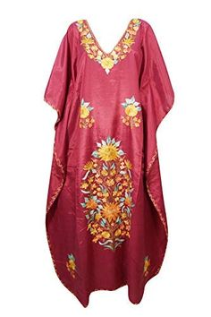 e0af87fd30daa Mogul Interior Womens Kaftan Dress Maroon Floral Embellished Lounge Gown  Maxi Caftan One Size: Amazon