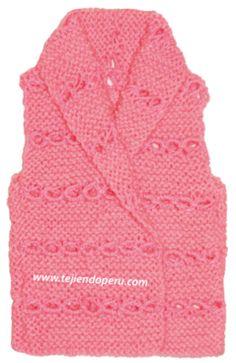 chaleco tejido en dos agujas en punto peruano