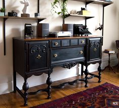 Antique buffet restoration using black chalk paint