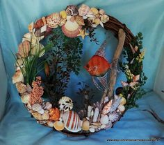 Hey, I found this really awesome Etsy listing at https://www.etsy.com/listing/193730554/large-beach-wreath-with-sea-shells-and