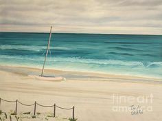 Seascape, Seascapes, Sailboat, Canvas Art, by Tina A Stoffel. Prints Start at $22, Click on the photo to go to my page. Beach, Beaches, Sailboats, Sailing, Blue, Water, Turqoise, Tan,Print, Prints,
