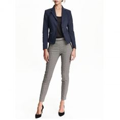 Trousers in a stretch weave with fake pockets front and back, a concealed zip in the side and skinny legs with a seam down the centre. Skinny Legs, Skinny Fit, Trouser Outfits, Black White Pattern, Work Chic, Slim Fit Trousers, Fashion Company, Work Fashion, Black Print