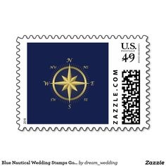 Blue Nautical Wedding Stamps Gold Compass