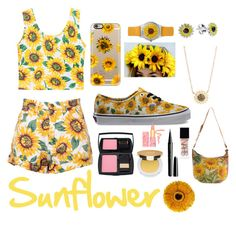 """""""Sunflower"""" by minimalistkaley on Polyvore featuring interior, interiors, interior design, home, home decor, interior decorating, Casetify, AeraVida, Vans and Jamie Wolf"""
