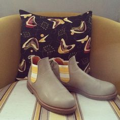 1960s chair, 1950s cushion and Penelope Chilvers safari boots