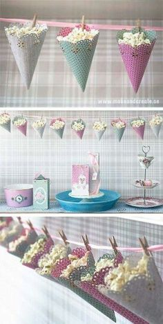 DIY Popcorn cones – cute way to decorate and serve at your party…OR storage in play room. DIY Popcorn cones – cute way to decorate and serve at your party…OR storage in play room. Birthday Party Decorations, Party Favors, Birthday Parties, Popcorn Decorations, Shower Favors, Christmas Decorations, Diy Birthday, Party Snacks, Birthday Popcorn