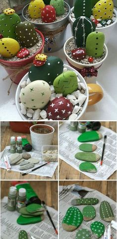 Painted stone cactus, DIY painted stone decorations that you can do - Top Diy Projects Cactus Rock, Stone Cactus, Painted Rock Cactus, Painted Rocks, Cactus Cactus, Cactus Flower, Rock Crafts, Diy Home Crafts, Diy Arts And Crafts