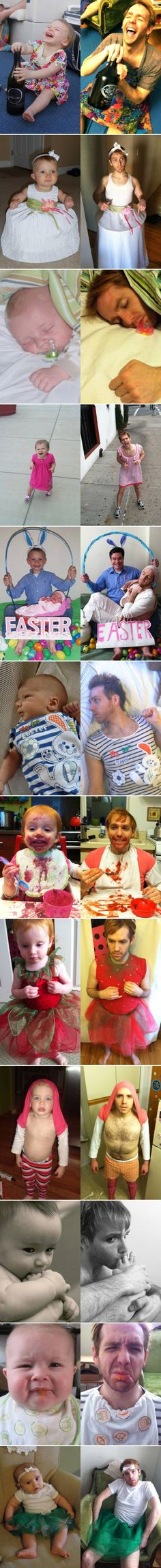 One mans journey to recreate his girlfriends baby photos. oh my