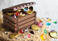 How to make a kitkat treasure chest. Not a cake but you could stick it on the top of a chocolate sponge to make a great pirate cake.