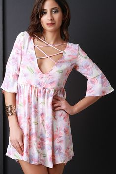 Floral Lace Front Empire Waist Mini Dress