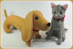 Best Friends (felt cat and dog) handmade by Gracinhas Artesanato