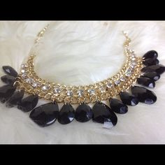 Diamond drop bib necklace Black drop necklace.                                                                                                          Length 20.08in Jewelry Necklaces