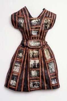 """Nancy Youdelman ~ """"Gal Pals"""" (2008) Mixed media relief 44 x 29 x 5 in *dress sculpture* via nancyyoudelman.com"""