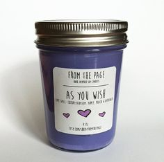 The As You Wish candle is inspired by The Princess Bride. This love story is paired with the scent Love Spell and is perfect for fans of Westley and